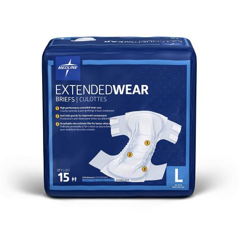 Medline Extended Wear High-Capacity Adult Incontinence Briefs MTB80300