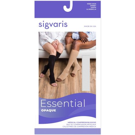 Sigvaris Men's Essential Opaque Calf Open-Toe Plus 862COLM