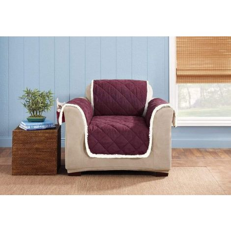Sure Fit Reversible Furniture Slipcover Suede and Sherpa