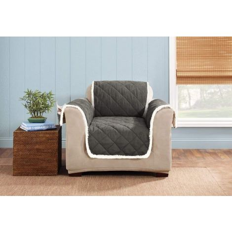 Sure Fit Reversible Furniture Slipcover Suede and Sherpa 41189