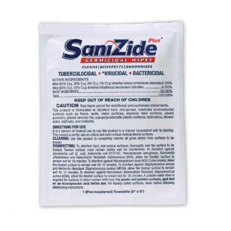 Safetec SanizidePlus Germicidal Disinfectant Wipes 694800